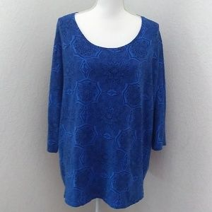 Catherine's 3/4 Sleeve Blue Cotton Tunic